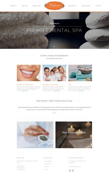 Naples Web Designer - Wordpress Premier Dental Spa, Web Design Naples Florida