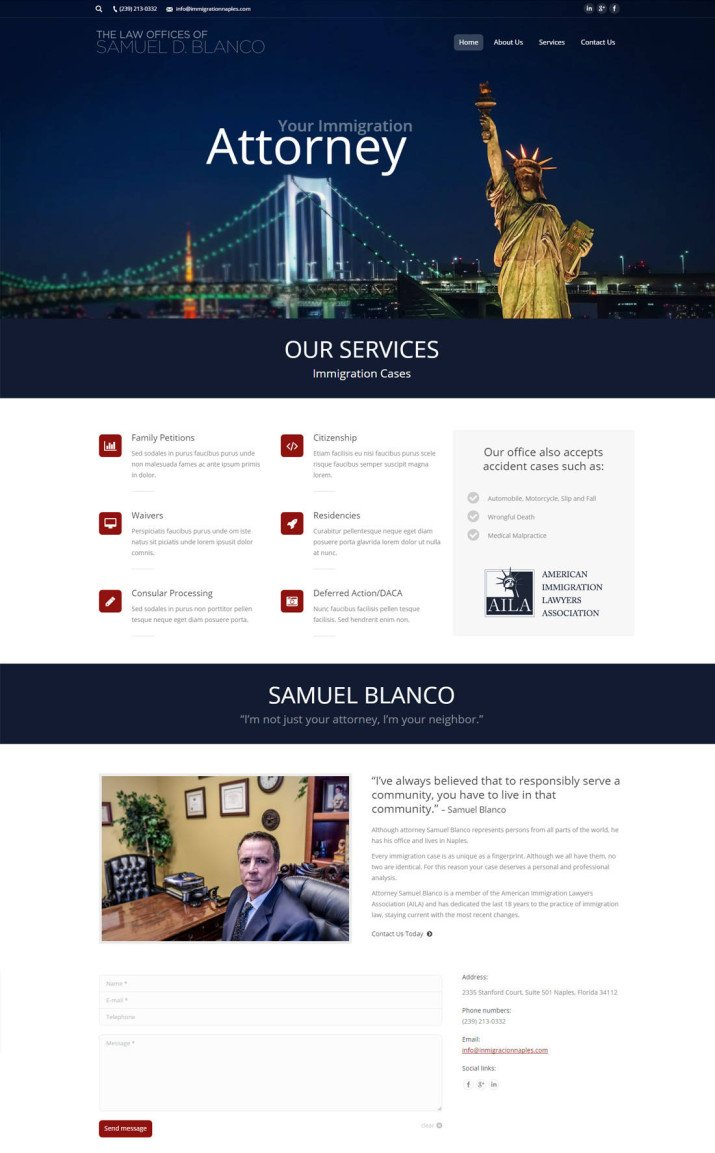 Naples Web Designer - Web design for Samuel Blanco, Immigration Lawyer Naples, Florida