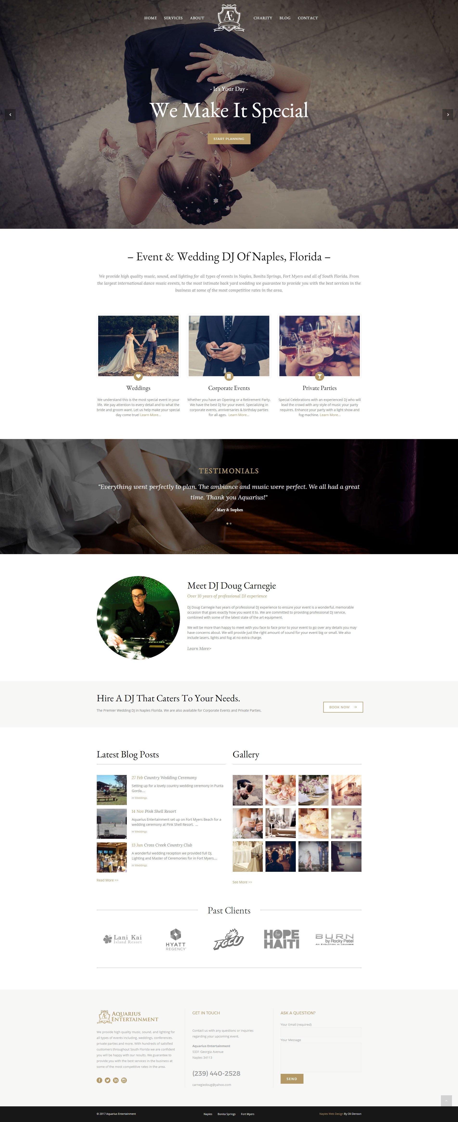 Web Design Naples Florida - Oli Denson - Wedding DJ Web Design
