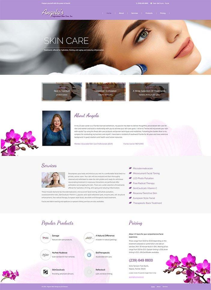 Web Design Naples Florida - Oli Denson - Skin Care Web Design