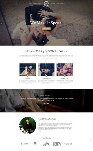 Web Design Naples Florida - Oli Denson - Wedding DJ Web Design