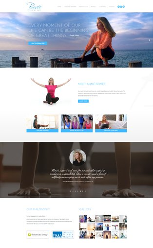 Web design Naples Florida, Pilates Website. Ahmé Bovee.