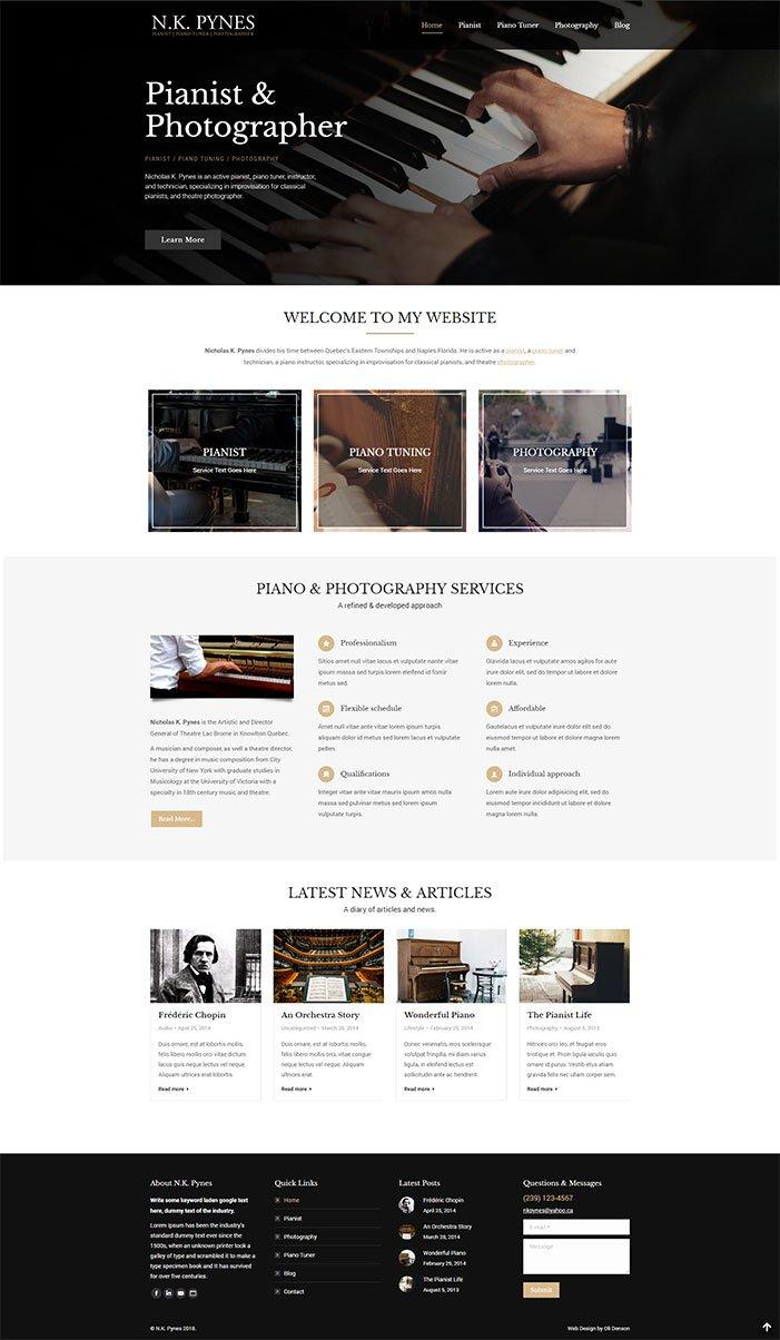 Musician Website Design - Pianist We design - Naples Florida - Oli Denson