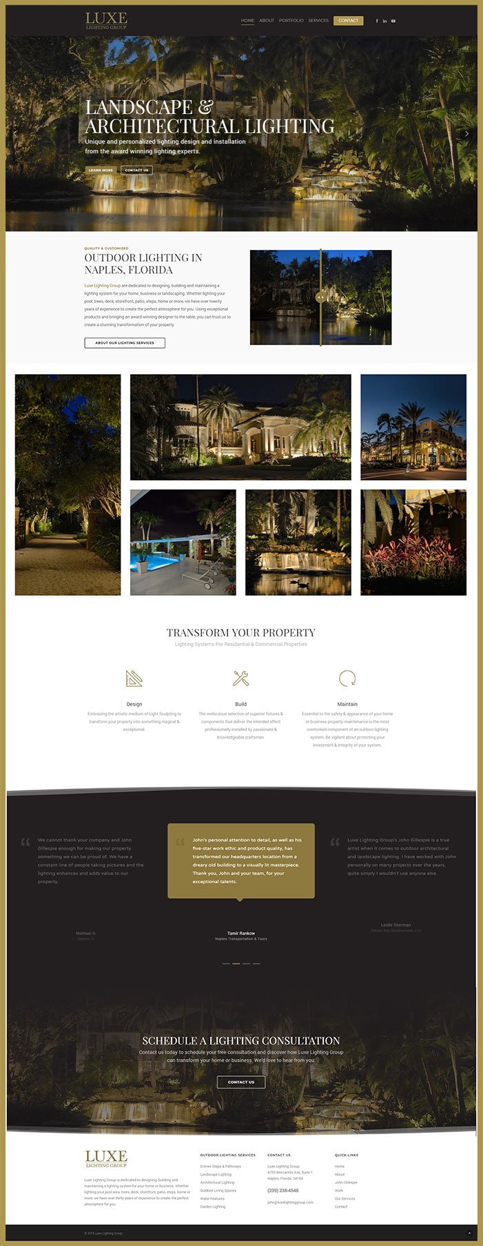 Outdoor Lighting Website Design - Oli Denson- Naples Web Design